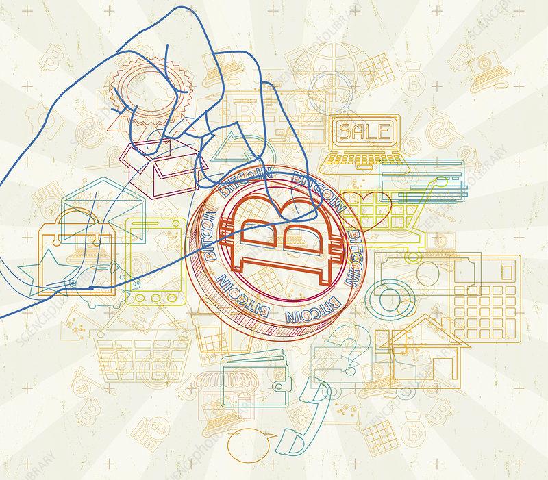 Image of internet shopping using bitcoin, illustration