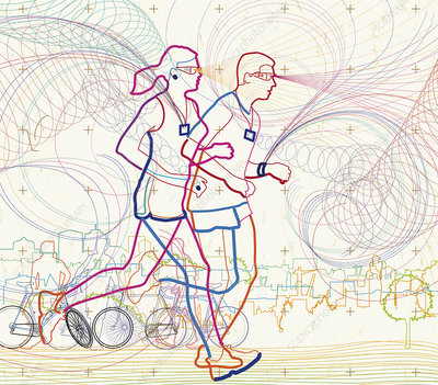 Man and woman running together, illustration