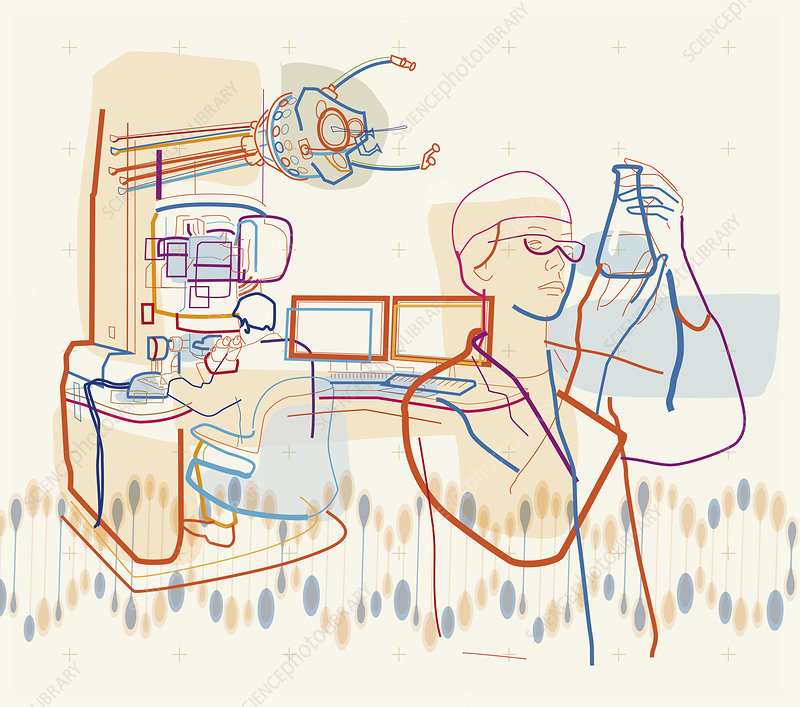Scientists working on experiments, illustration