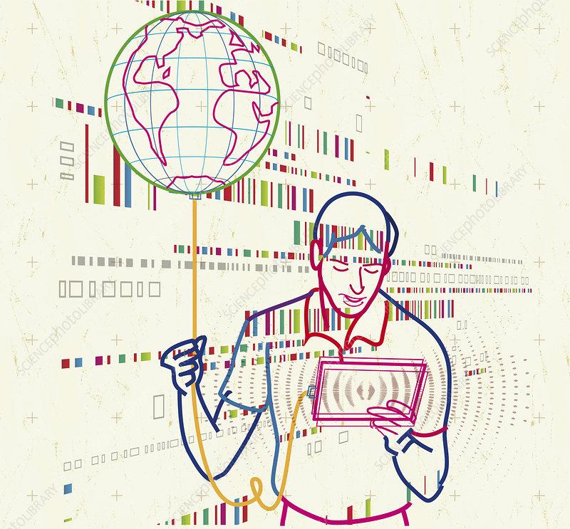 Man using digital tablet and globe balloon, illustration