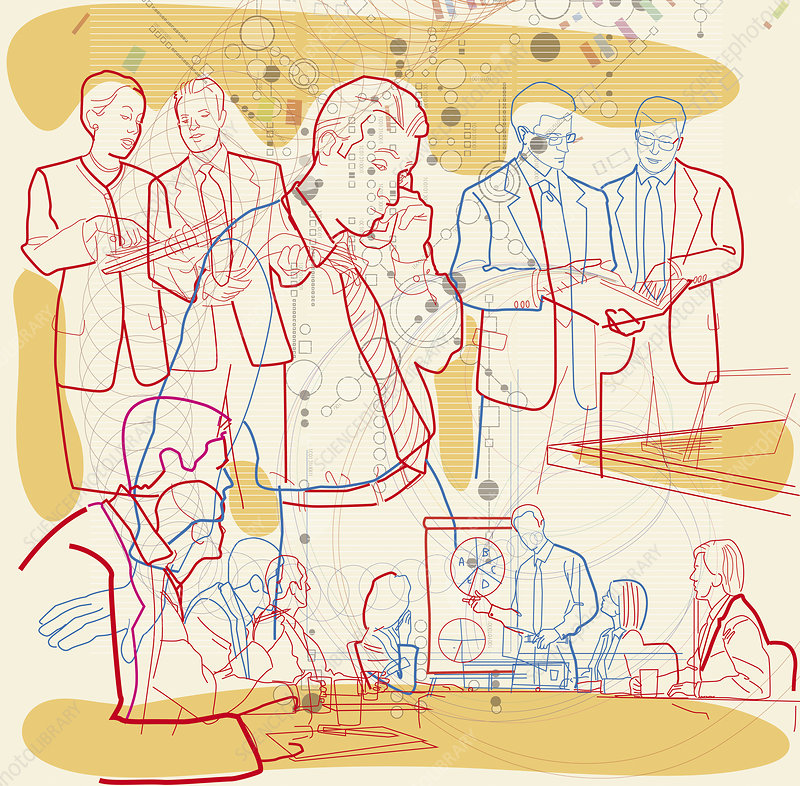 Image of businesspeople and communication, illustration