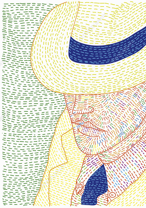 Obscured face of man wearing panama hat, illustration