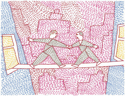 Two men bridging gap between buildings, illustration