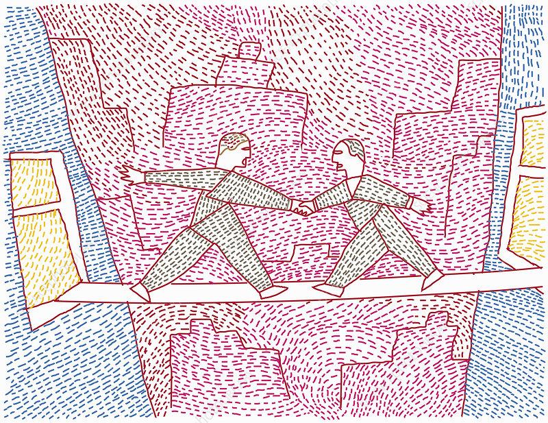 Two men bridging gap between buildings, illustration