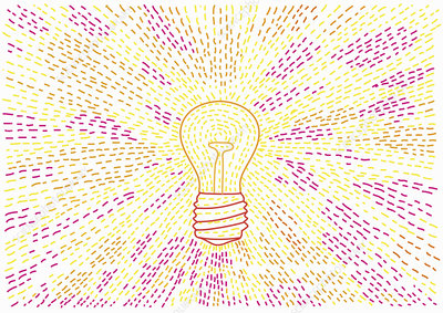 Light beams from glowing light bulb, illustration