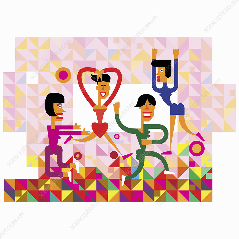 Women dancing in pattern, illustration