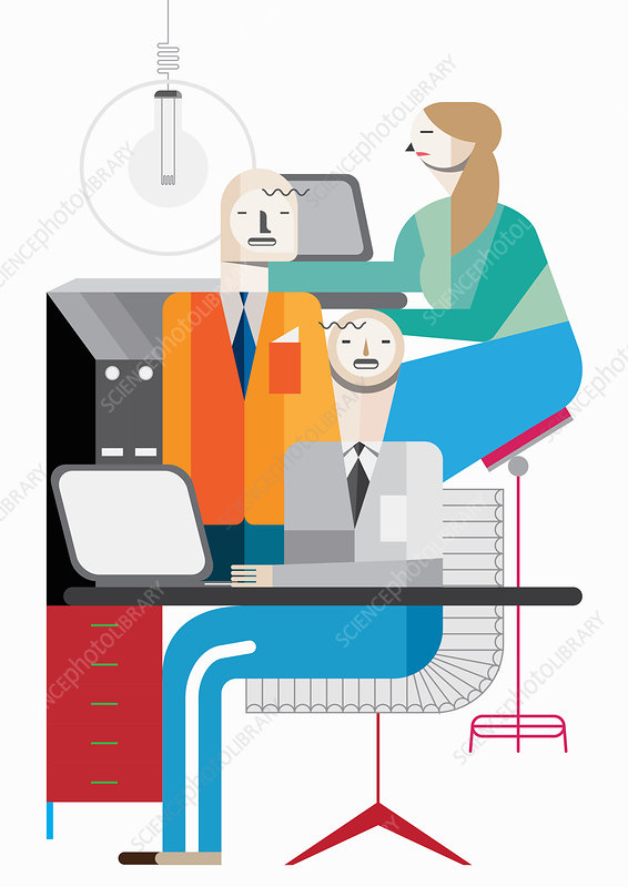 Business people at computers in office, illustration