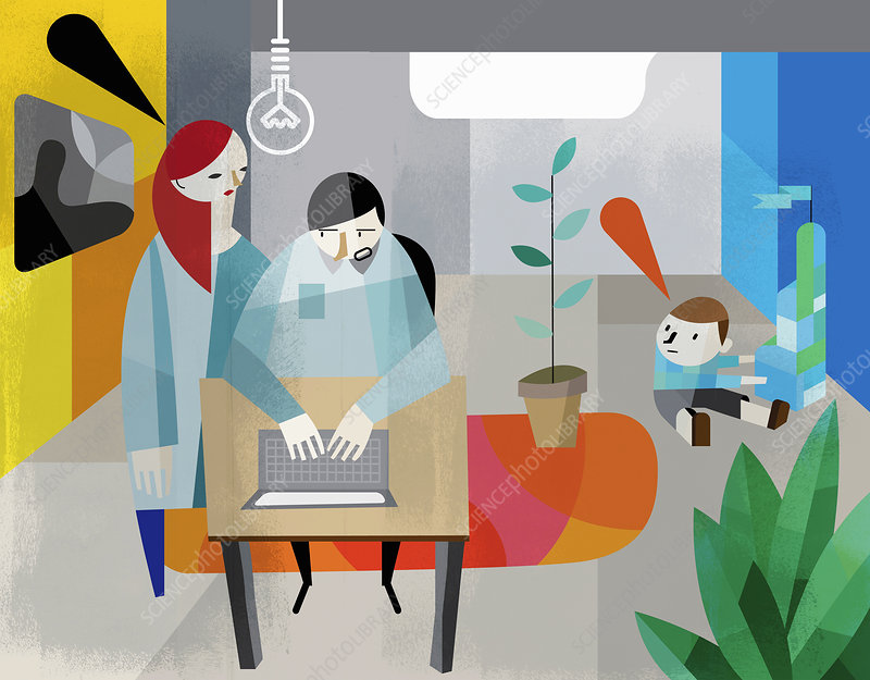 Man working from home distracted by family, illustration