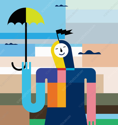 Smiling woman holding umbrella, illustration