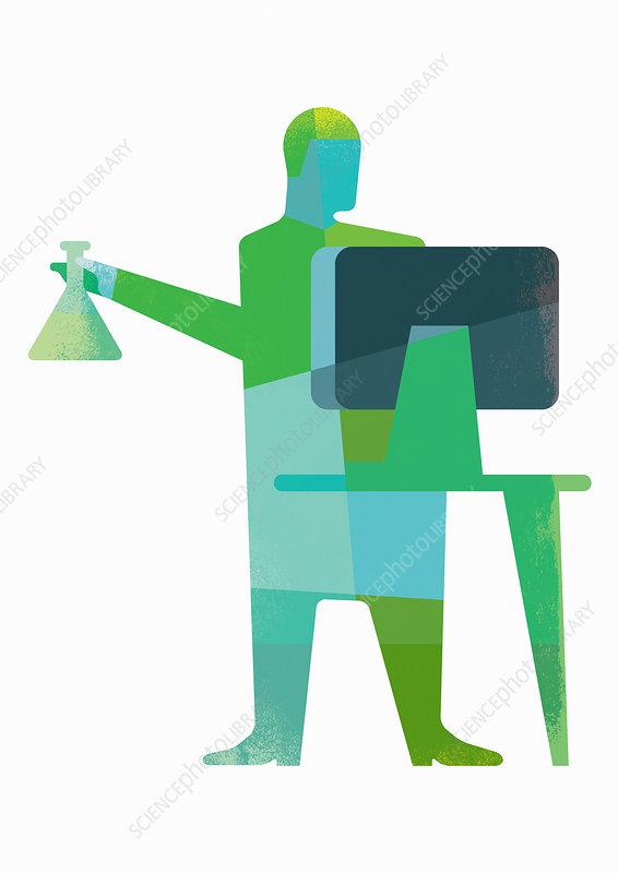 Scientist holding beaker using computer, illustration
