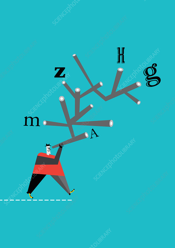 Man looking through telescope at letters, illustration