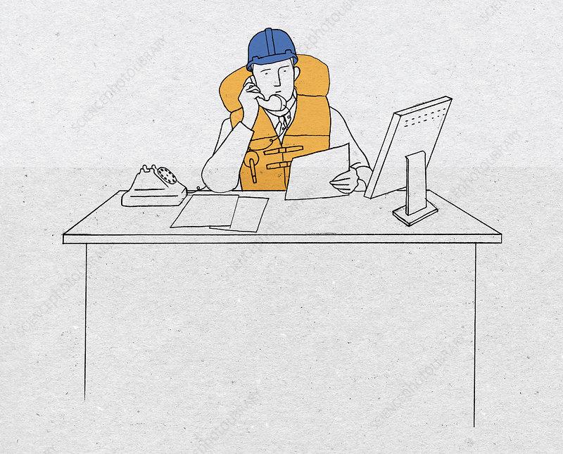 Businessman on phone wearing hard hat, illustration