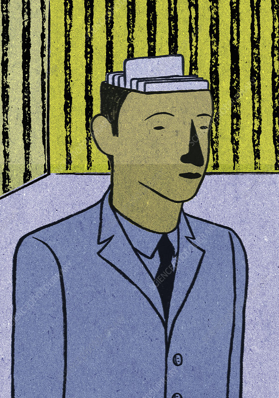 Filing inside of businessman's head, illustration