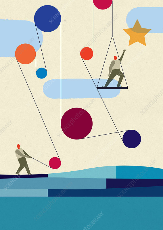 Man supporting colleague on pulley, illustration