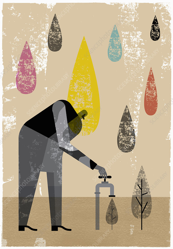 Man turning tap on watering tree, illustration