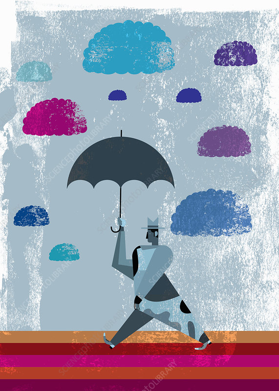 Clouds above businessman with umbrella, illustration