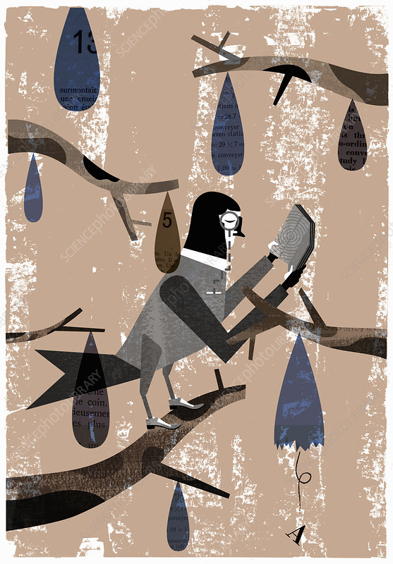 Owl wearing monocle reading book on branch, illustration