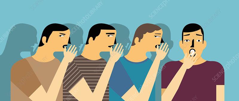 Row of men whispering gossip to surprised man, illustration