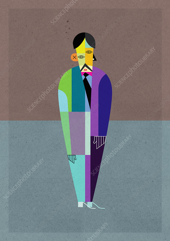 Cubism multicoloured businessman, illustration