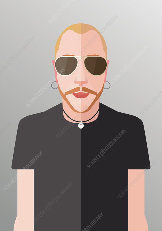 Man with beard and sunglasses, illustration
