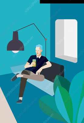 Man relaxing on sofa with drink, illustration
