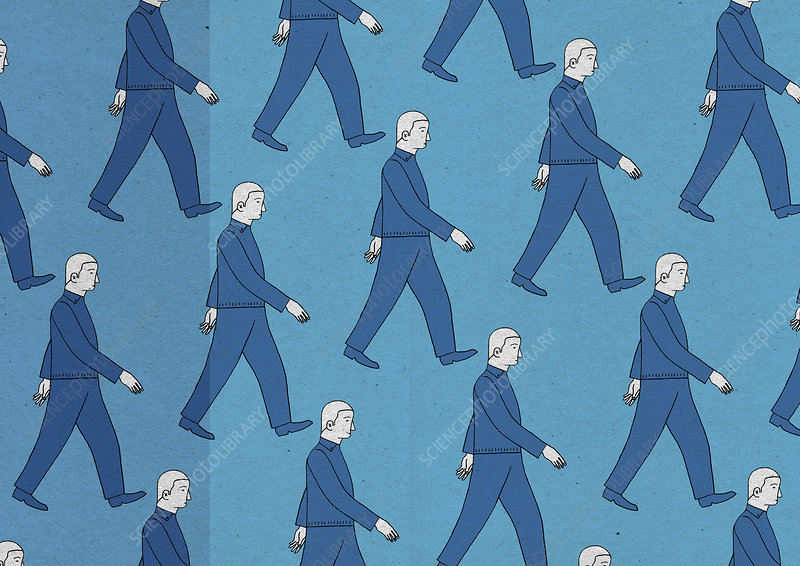 Pattern of similar men walking in rows, illustration