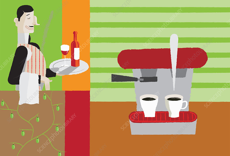 Waiter with wine on tray, illustration