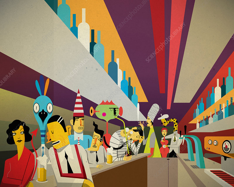 People and aliens socializing in bar, illustration