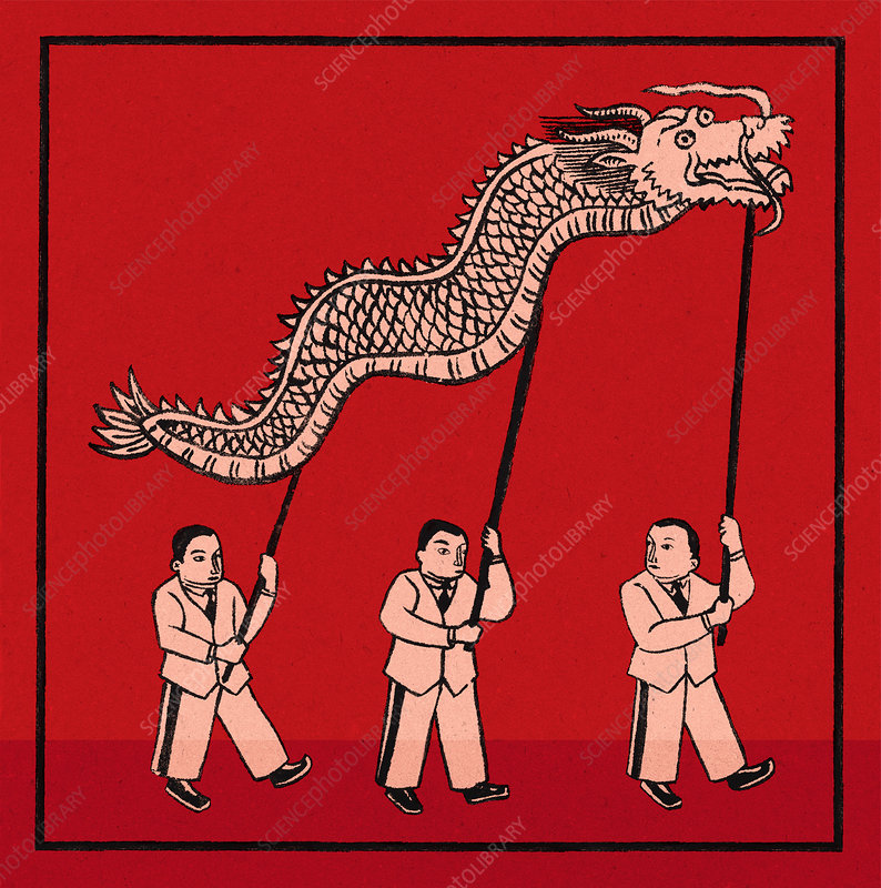 Chinese businessmen supporting dragon, illustration