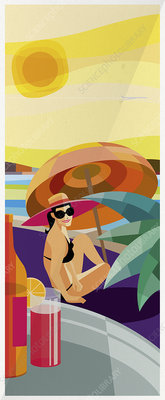 Drinks tray approaching woman on sunny beach, illustration
