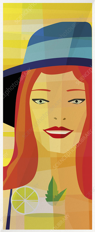 Smiling woman with cocktail and sun hat, illustration