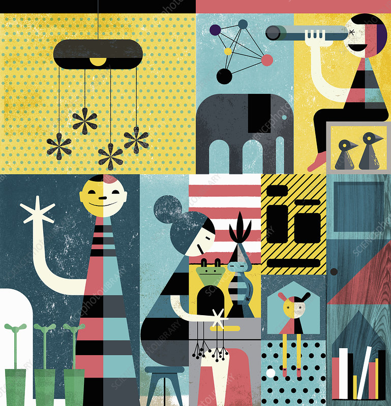 Happy children playing indoors, illustration
