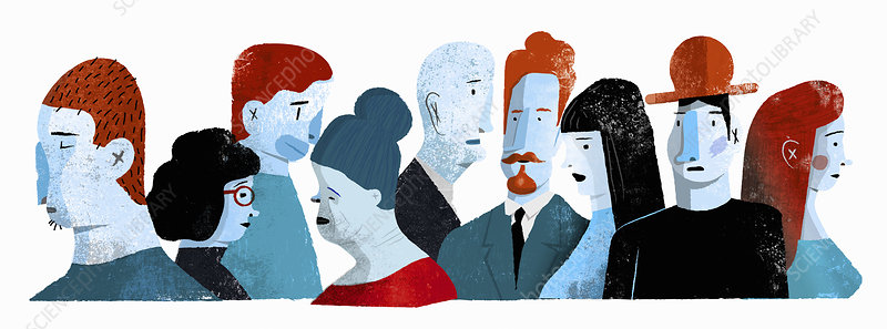 Group of different people, illustration