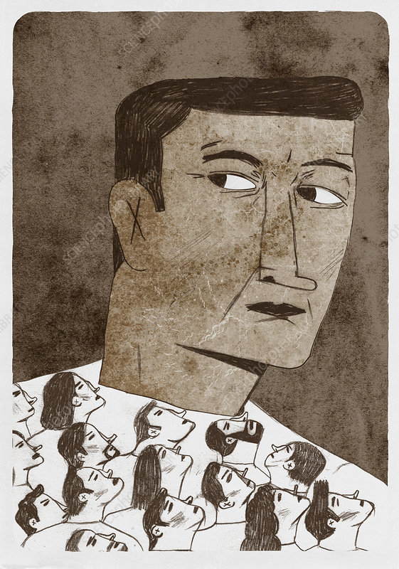 Accusing faces looking up at guilty man, illustration