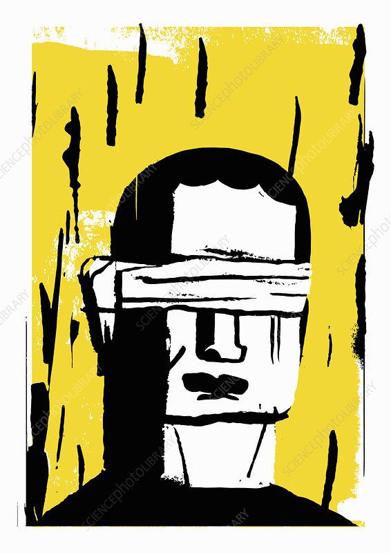 Blindfolded man, illustration