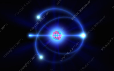 Atomic nucleus and orbiting electrons, illustration