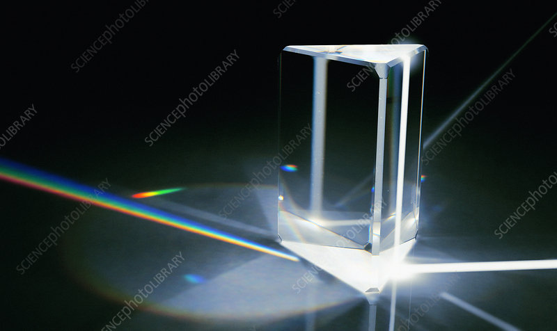 Light beams refracted through prism, illustration