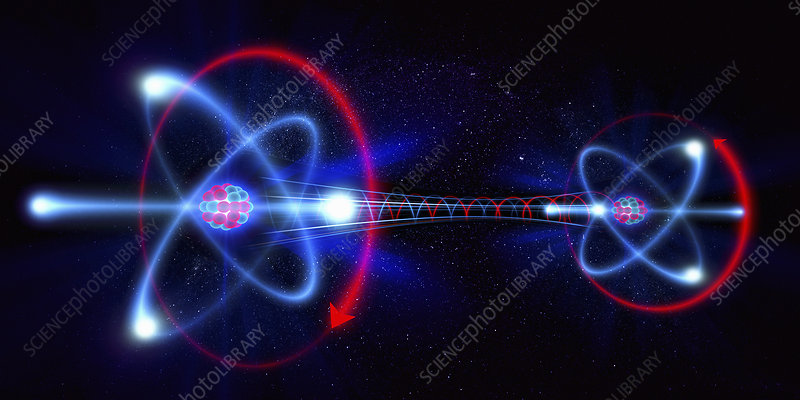 Rotating atom particles, illustration