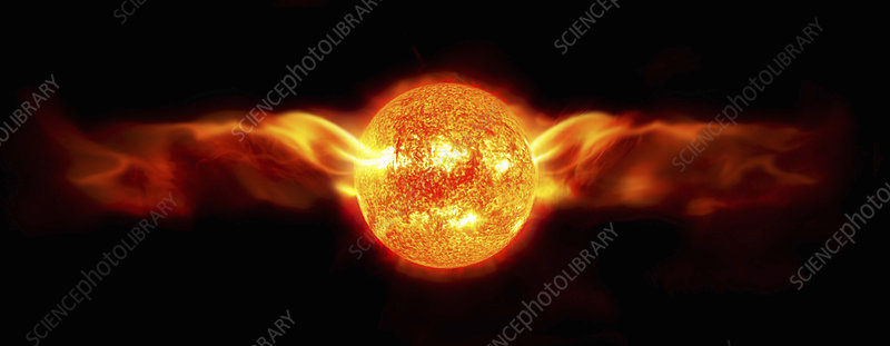 Sun with solar flares as winged sun disk, illustration