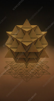 64 sided tetrahedron and grid, illustration