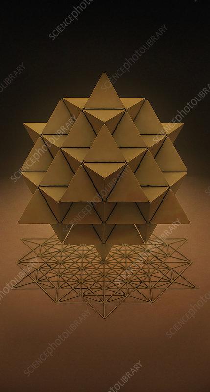 64 sided tetrahedron and grid, illustration