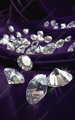 Diamonds on purple silk cloth, illustration