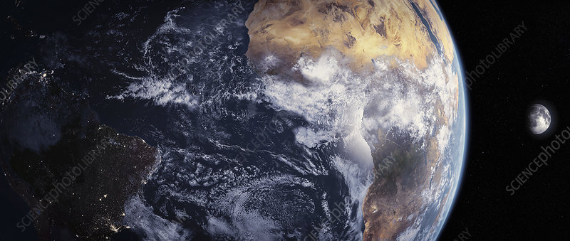 Africa and Brazil from outer space, illustration