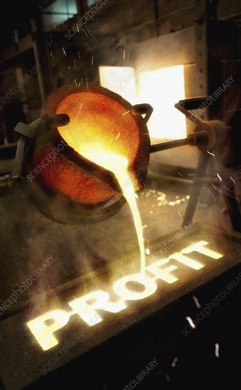 Molten metal writing 'profit', illustration