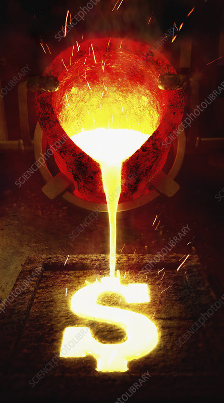 Molten metal pouring into dollar sign mold, illustration