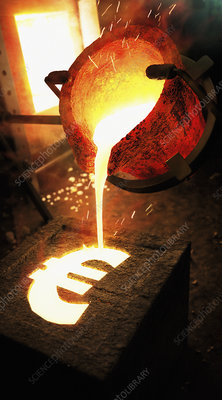Molten metal pouring into euro sign mold, illustration