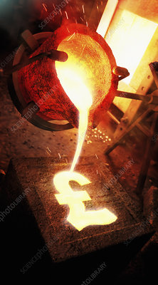 Molten metal pouring into pound sign mold, illustration