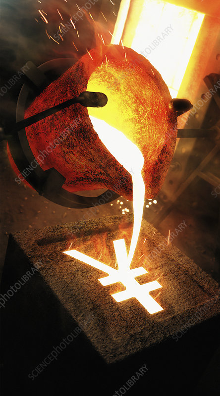 Molten metal pouring into yen sign mold, illustration