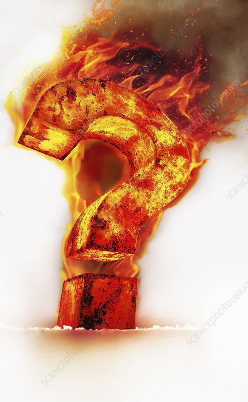 Red hot burning metal question mark, illustration