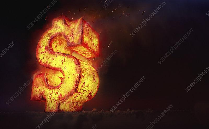 Red hot burning metal dollar sign, illustration